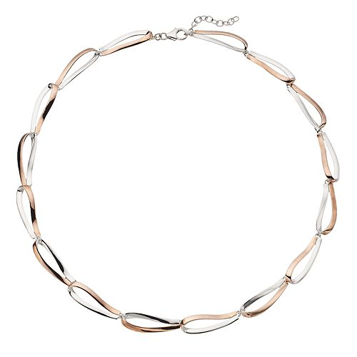 Two Tone Sterling Silver Oval Link Necklace