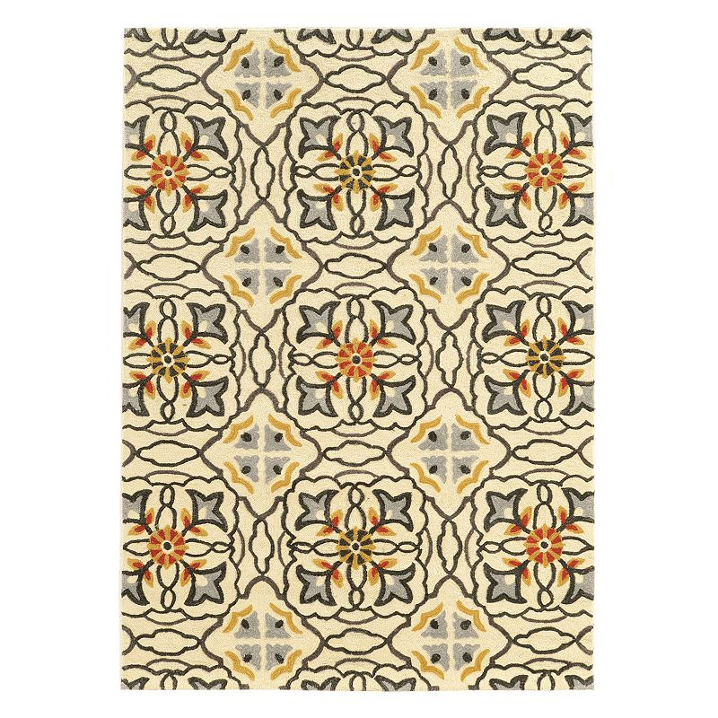 Linon Trio Geometric Floral I Rug. Beig/Green. 2X3 Ft