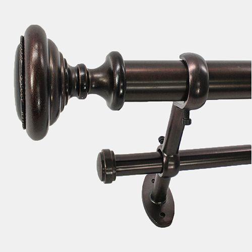 22 Park West Knob Adjustable Double Curtain Rod