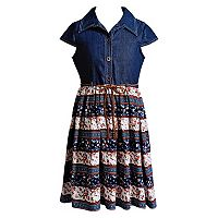 Girls 7-16 & Plus Size Emily West Woven Denim & Patterned Skirt Dress