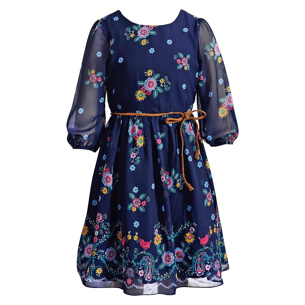 Girls 7-16 & Plus Size Emily West Floral Chiffon Dress with Braided Belt
