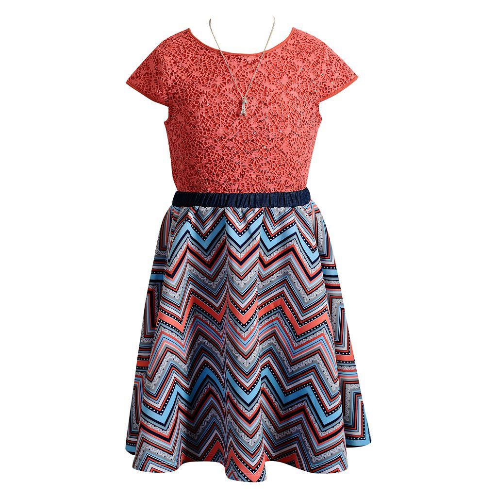 Girls 7-16 & Plus Size Emily West Lace & Chevron Dress with Necklace