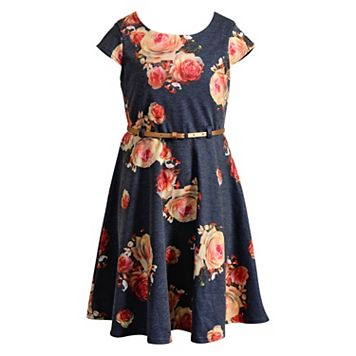 Girls 7-16 & Plus Size Emily West Belted Floral Dress