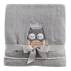 Just Born 'Hello' Owl Plush Fleece Baby Blanket