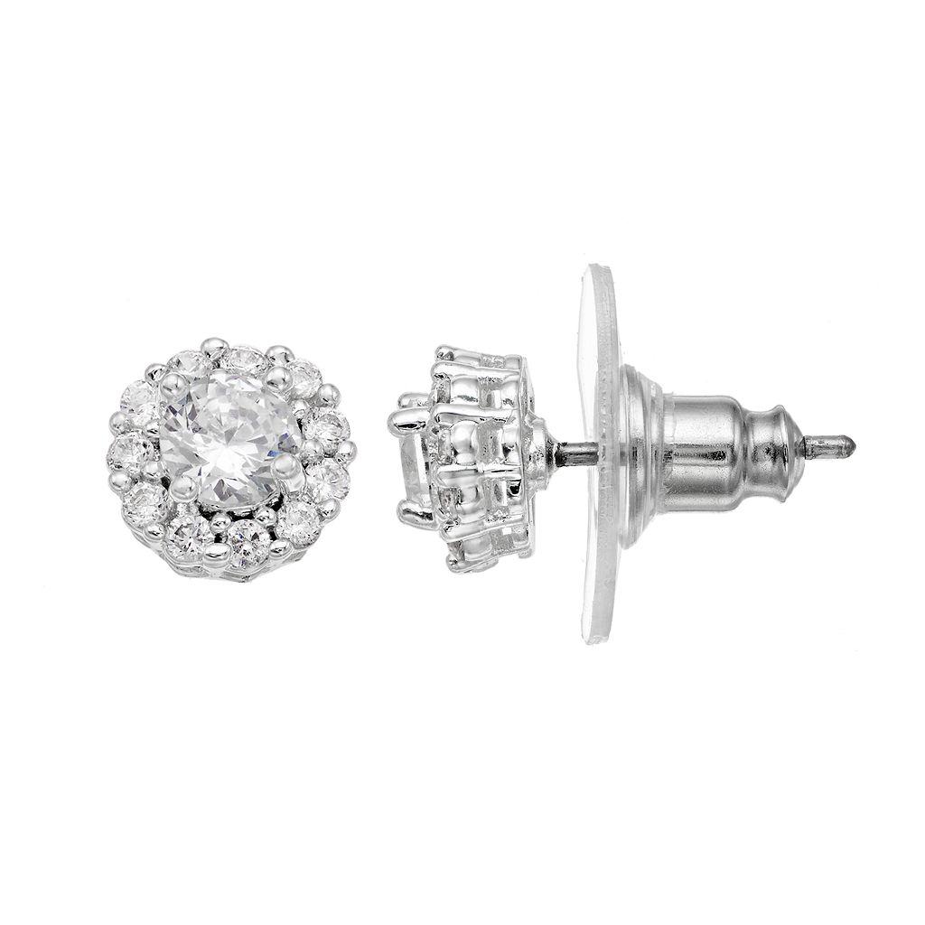 Dana Buchman Cubic Zirconia Recessed Halo Nickel Free Stud Earrings