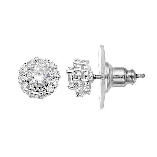 Dana Buchman Cubic Zirconia Recessed Halo Stud Earrings