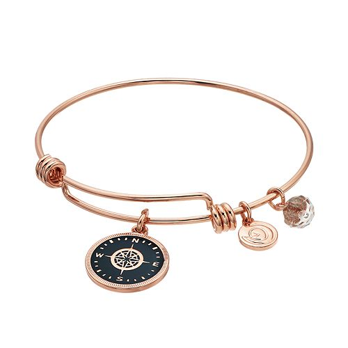"love this life ""Life is a Journey"" Compass Bangle Bracelet"