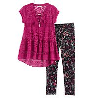 Girls 7-16 Self Esteem Lace Top & Printed Leggings Set with Necklace