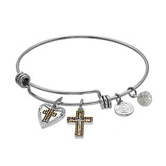 love this life 'Faith Hope Love' Cross Bangle Bracelet