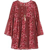 Girls 7-16 & Plus Size Speechless Bell Sleeve Printed Dress with Necklace