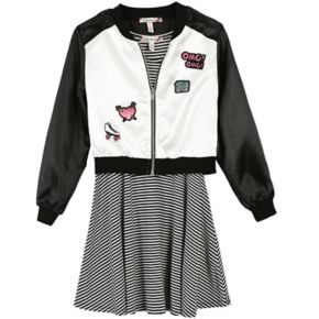 Girls 7-16 & Plus Size Speechless Patch Applique Bomber Jacket & Striped Skater Dress Set