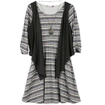 Girls 7-16 & Plus Size Speechless Vest & 3/4-Sleeve Textured Stripe Dress Set with Necklace