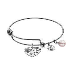love this life Crystal & Pink Quartz 'Mom' Heart Charm Bangle Bracelet