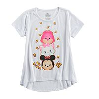 Disney's Tsum Tsum Minnie Mouse, Marie & Cheshire Cat Girls 7-16 Candy Corn Halloween Graphic Tee