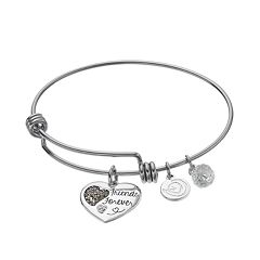 love this life Crystal & Marcasite 'Friends Forever' Heart Charm Bangle Bracelet