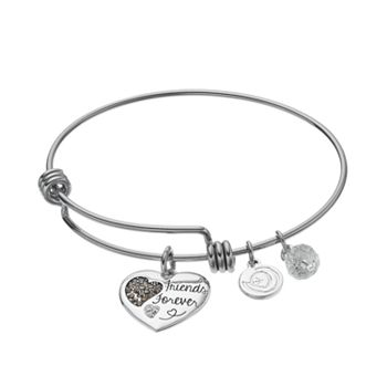 Love This Life Crystal Marcasite Friends Forever Heart Charm Bangle Bracelet
