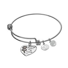 love this life Crystal & Marcasite 'My Sister My Friend' Heart Charm Bangle Bracelet