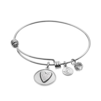 "love this life Crystal ""Girlfriends"" Heart Charm Bangle Bracelet"