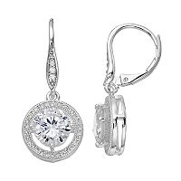 Dana Buchman Cubic Zirconia Round Halo Nickel Free Drop Earrings