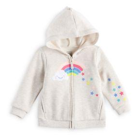 Baby Girl Jumping Beans® Fleece Lined Rainbow Graphic Zip Hoodie