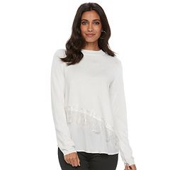Women's ELLE™ Asymmetrical Mixed-Media Sweater