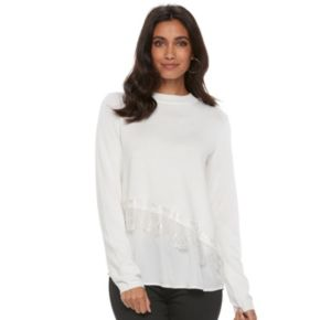 Women's ELLE™ Asymmetrical Mixed-Media Sweater