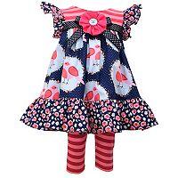 Toddler Girl Bonnie Jean Ruffled Bird Dress & Striped Leggings Set