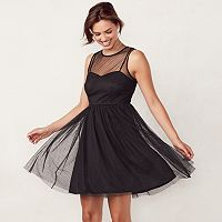 Women's LC Lauren Conrad Flocked Tulle Fit & Flare Dress