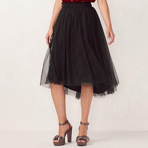 Women's LC Lauren Conrad Flocked Tulle Midi Skirt