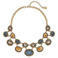 Dana Buchman Faceted Oval Stone Statement Necklace