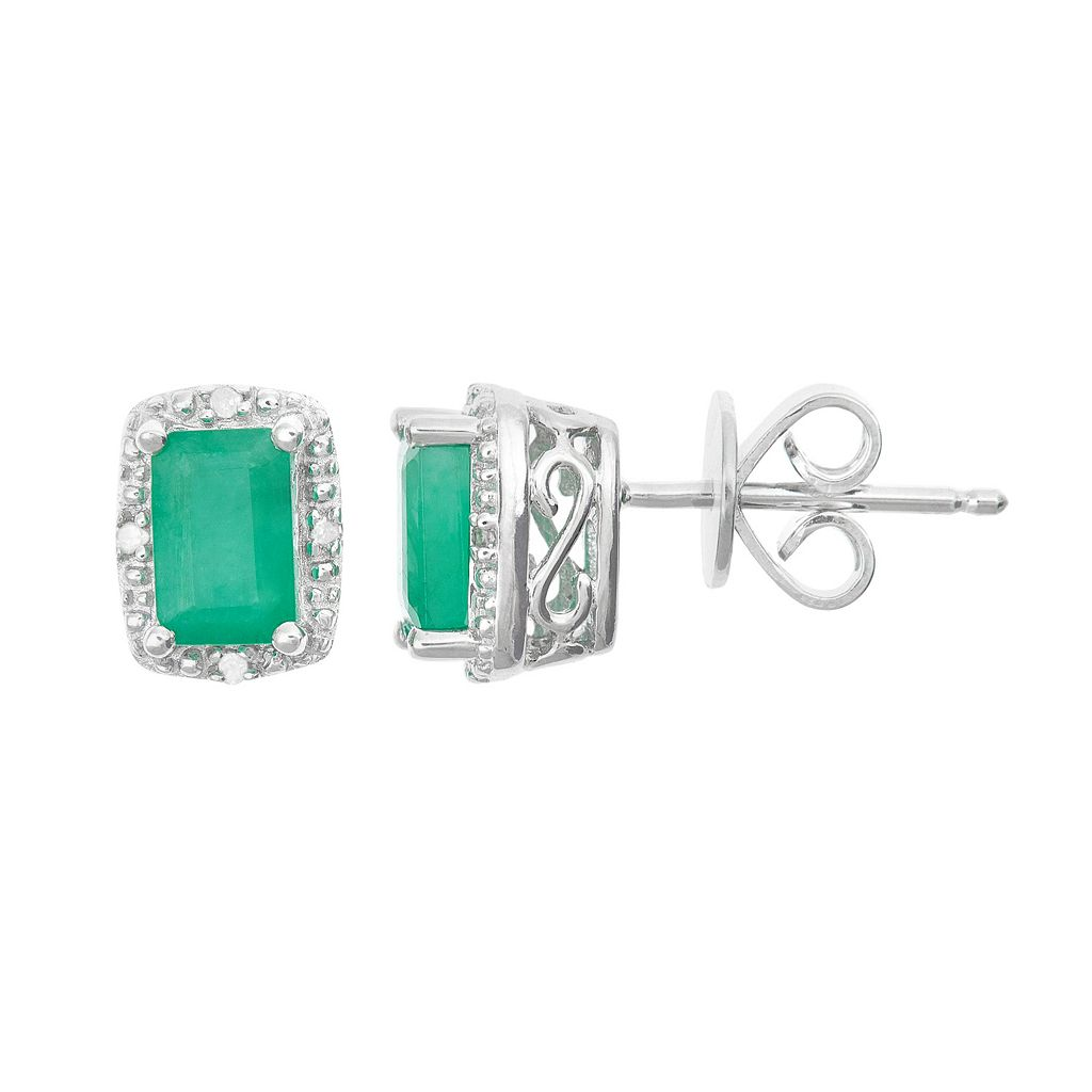 Sterling Silver Emerald & Diamond Accent Rectangle Halo Stud Earrings