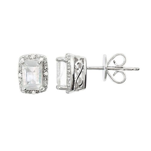 Sterling Silver Moonstone & Diamond Accent Rectangle Halo Stud Earrings