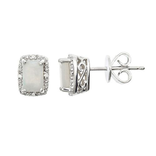 Sterling Silver Opal & Diamond Accent Rectangle Halo Stud Earrings
