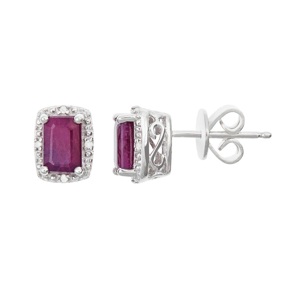 Sterling Silver Ruby & Diamond Accent Rectangle Halo Stud Earrings
