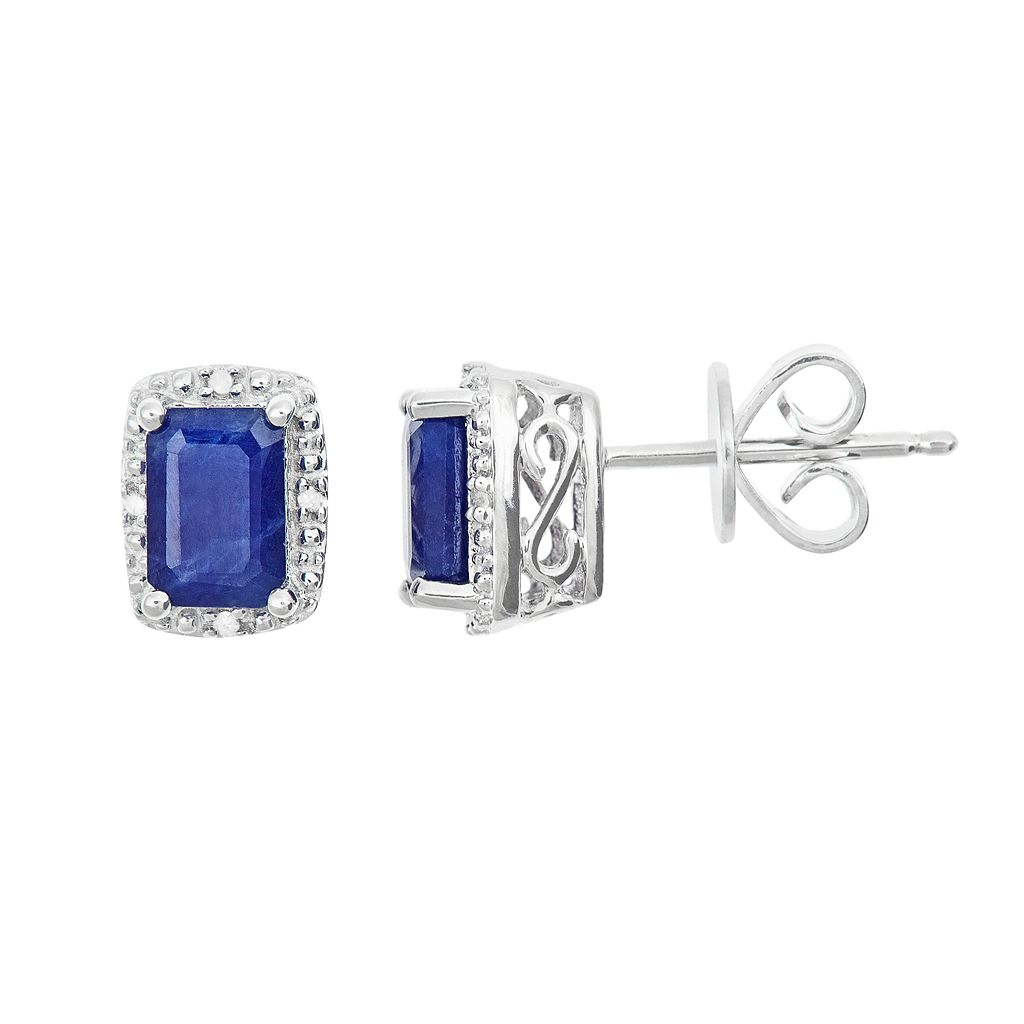 Sterling Silver Sapphire & Diamond Accent Rectangle Halo Stud Earrings