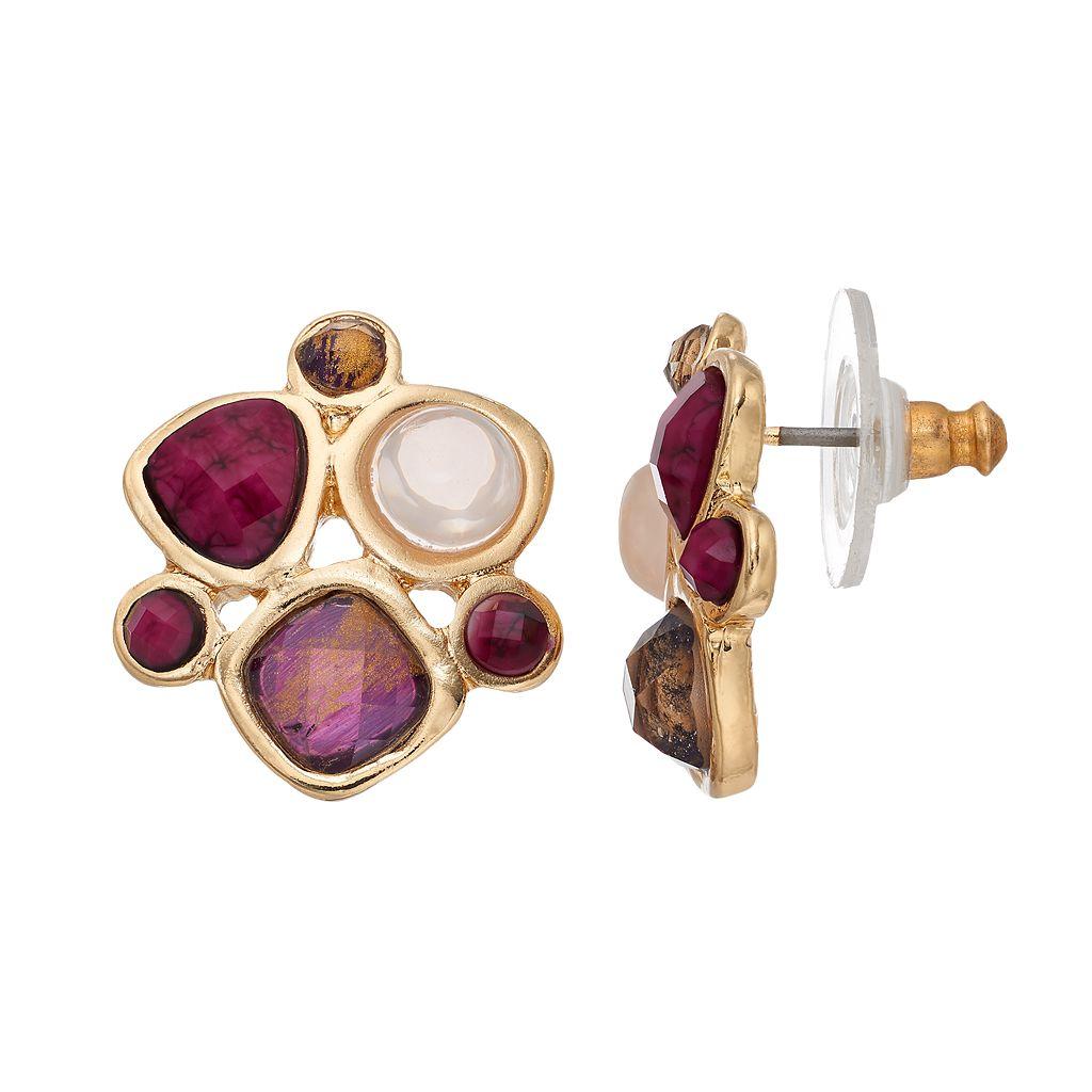 Dana Buchman Purple Geometric Stone Cluster Nickel Free Drop Earrings