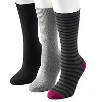 Women's SONOMA Goods for Life™ 3-pk. Solid & Striped Crew Socks