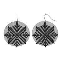 Halloween Spiderweb Glittery Disc Drop Earrings