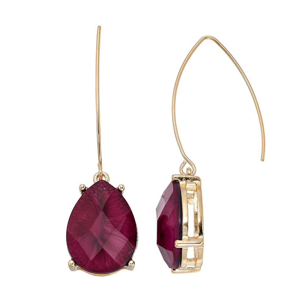 Dana Buchman Maroon Teardrop Nickel Free Threader Earrings
