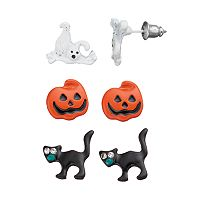 Halloween Ghost, Pumpkin & Black Cat Stud Earring Set
