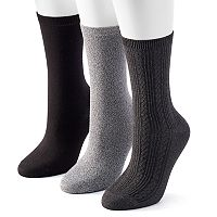 Women's SONOMA Goods for Life™ 3-pk. Solid Crew Socks