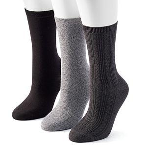Women's Sonoma Goods For Life® 3-pk. Solid Soft & Comfortable Crew Socks