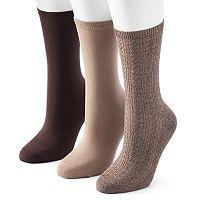 Women's SONOMA Goods for Life™ 3-pk. Solid Crew Socks