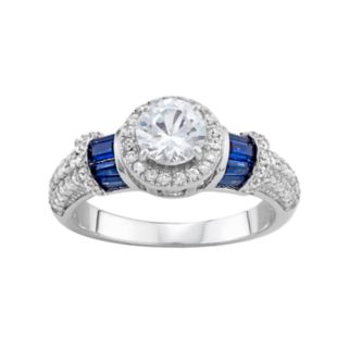 Sterling Silver Lab-Created Blue & White Sapphire Halo Ring