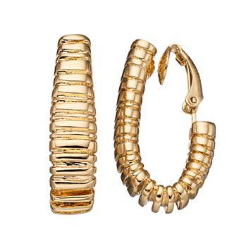 Dana Buchman Textured Nickel Free Clip On Hoop Earrings