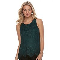 Juniors' Trixxi Scalloped Lace Tank