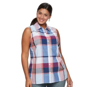 Plus Size Women's Croft & Barrow® Button-Front Sleeveless Shirt