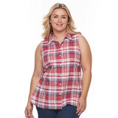 Plus Size Women's Croft & Barrow® Button-Front Sleeveless Shirt