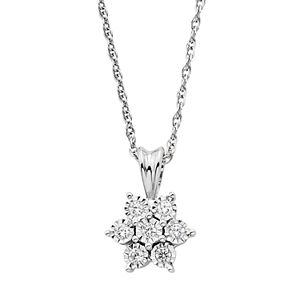 Sterling Silver 1/10 T.W. Diamond Cluster Flower Pendant Necklace