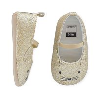 Baby Girl Carter's Glitter Cat Mary Jane Crib Shoes